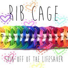 Rainbow Loom Rib Cage Bracelet Video Tutorial by TutorialsByA. Rainbow Loom Tutorials, Rainbow Loom Patterns, Rainbow Loom Creations, Rainbow Loom Bands, Rainbow Loom Charms, Rainbow Loom Bracelets, Loom Band Patterns, Loom Bracelet Patterns, Bracelet Designs
