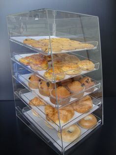 Acrylic Pastry Bakery Donuts Cupcake Display Case with Trays (5 Trays)