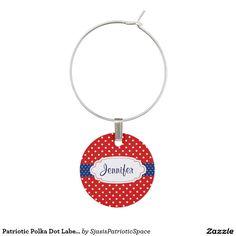 Patriotic Polka Dot Label Design Wine Charm