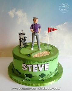 """I think it's fair to say that Steve is a golfing fanatic, so this mammoth 10"""" zesty lemon cake depicts him on the green in his favourite golfing gear. Steve was sculpted from modelling chocolate and clothed in sugarpaste. Everything was handmade,..."""