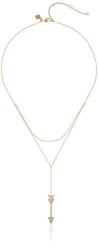 Rebecca Minkoff Arrrow Layered Gold with Crystal Y-Shaped Necklace >>> More details @