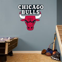Chicago Bulls Logo REAL.BIG. Fathead – Peel & Stick Wall Graphic | Chicago Bulls Wall Decal | Sports Home Decor