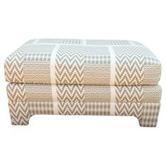 Check out this item at One Kings Lane! Beige & Ivory Print Ottoman