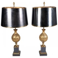 "Fine pair of Maison Charles Table lamps of Artichoke form, solid bronze, each stamped ""Charles"" & ""Made in France"" to the base. Complete with the original metal shades. Circa 1960 (Fully rewired.)"
