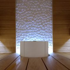 Tulikivi Sumu electric sauna heater in white, beautiful white accent tile! Electric Sauna Heater, Concrete Wood, Steam Room, Amazing Architecture, Wall Lights, New Homes, Sauna Ideas, Interior, Saunas