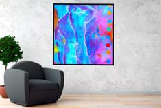 Printable Abstract Art, Instant Download Art, Colorful Art, Male Nude, Large SQUARE Male Figure Abstract Painting by BernardTeklicArt on Etsy