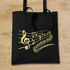 Music Notes Tote Bag, Personalised Music Teacher Thank You Gift, Book Bag, Black and Gold Long-Handled Shopping Bag for Life