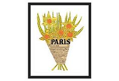 Paris Daffodil: Collage made with book pages, print