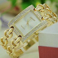 NEW Women Metal Bracelet Watch Caldi Double Link Gold Bracelet Crystal Square Wristwatch Reloj Para Dama Quartz Watches