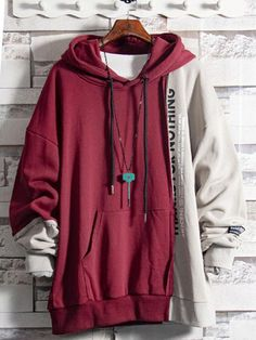 Urcarol バイカラー長袖パーカー Edgy Outfits, Fashion Outfits, Cool Hoodies, Men's Hoodies, Mode Hijab, Sports Jacket, Character Outfits, Aesthetic Clothes, Measurement Chart