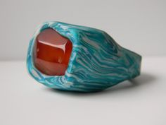 Blue and Pearl White Polymer Clay Statement Ring with Embedded Carnelian by UpperHandRings on Etsy