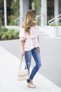 I'm sharing a weekend ready look with an oversized blush off-the-shoulder top ($44), my favorite jeans (that I updated with a scissors) and my new favorite shoes, these Nina Shoes rose gold loafers. Swoon!