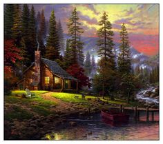 Art by Thomas Kinkade . In memory of my grandma.