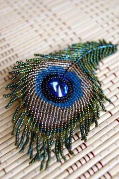 peacock feather made with beads