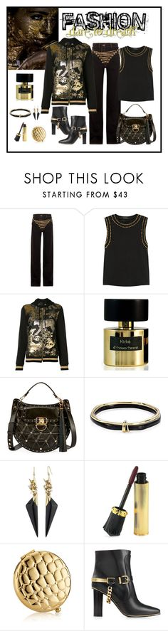 """""""Y/PROJECT Gold Chain Embellished Jean Look"""" by romaboots-1 ❤ liked on Polyvore featuring Y/Project, Balmain, Philipp Plein, Tiziana Terenzi, Alexis Bittar, Christian Louboutin and Estée Lauder"""