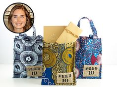 Lauren Bush teamed up with Godiva to have these bags made by women in Liberia. $25 each proceeds go to feed meals for kids in africa.