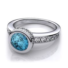 7f953a836 5mm Bezel Set Blue Topaz Diamond Gemstone Engagement Ring in 14k White Gold  (.86ctw I1, I)