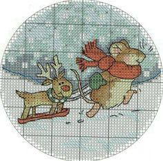 Christmas cross-stitch schemes ~~ MOUSE AND REINDEER PAGE 1 OF 3