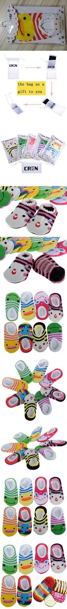 Cren® 5 Pairs Baby Toddler Anti Slip Skid Socks For Age 0-2, Length 9-15cm/3.54-5.9inch