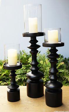 "Tall Faux Turn-Wood Pillar Candle Holder Satin Black w/ Candle Trio Set 12"" 19"" 22"""