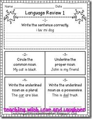 Teaching With Love and Laughter: Grammar Review Sheets for First Grade