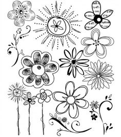 Flowers Clear Rubber Stamps | princessbooksbyjmh - Craft Supplies on ArtFire