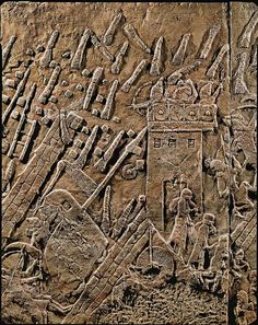 Assur relief 10th-6th century BC, depicting a tower with defenders. Assyrians attack the Jewish fortified town of Lachish (battle 701 BCE). Part of a relief from the palace of Sennacherib at Niniveh, Mesopotamia (Iraq).