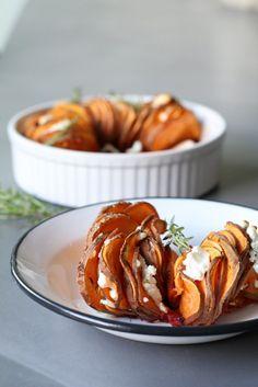 Zoete aardappelschotel met geitenkaas - Beaufood