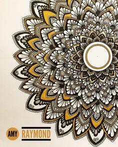 sunflower mandala #art #zentangle #doodle #Journaling