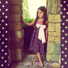 Sweet 4th of July girls dress Stars and Stripes Chevron Red white and blue Www.facebook.com/ninidink designs