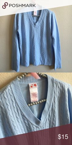 "Soft Blue Sweater Ultra soft sweater in color ""Love You Blue."" Size ladies small. Sweater is like new and in excellent condition! 100% acrylic. Smoke free home. Sweaters V-Necks"