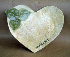 Ceramic Lace Heart  Platter Forever Hand Built Pottery by dgordon, $34.00