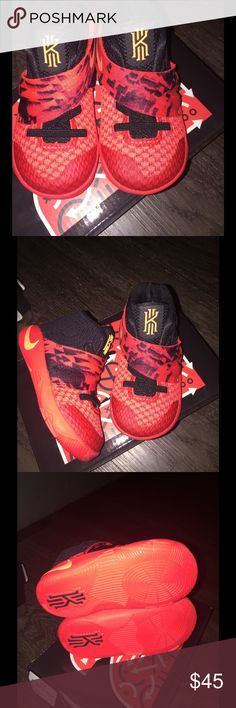 Kyrie 2 (TD) Nike Kyrie 2 (TD). Size: 5c. Bright Crimson/ATMC Orange-Black. Made in China. NEVER worn!!! Brand New!! Nike Shoes Sneakers