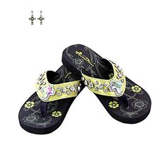 Montana West Rhinestone Cross Thin Sole Flip Flops and Earrings Yellow 8 >>> Learn more by visiting the image link.