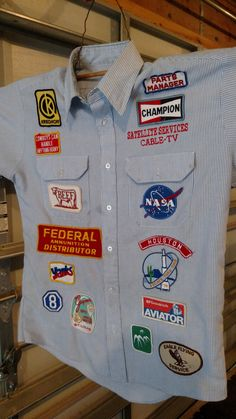 Work shirt with awesome, awesome patches by CurvyGirlRanch on Etsy