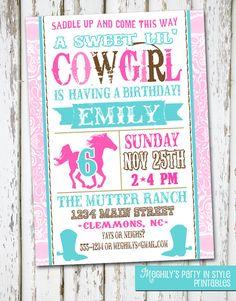 Western Cowgirl Birthday Invitation. $8.00, via Etsy.
