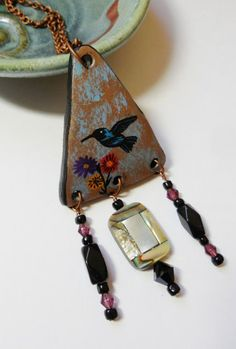 Hummingbird Totem Painted Gourd Pendant with Abalone and Beads  | ConsciousArtStudios - Jewelry on ArtFire