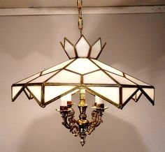 Antique Vintage Stained Glass Shade Chandelier Ceiling Light Fixture Lamp