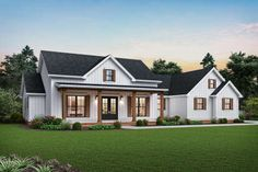 Plan Modern Farmhouse Plan with Vaulted Great Room and Outdoor Living Area Four columns support the front porch on this modern farmhouse plan with board and batten siding and gabled rooflines. The elongated front porch protects visitors