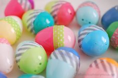 Washi Tape Easter Eggs. Cute idea, mix and match, plus you don't have to worry about the eggs popping open