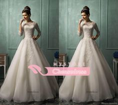 Cheap A Line Wedding Dresses - Discount Sheer Lace Wedding Dresses with Bateau Neck Sheer Online with $140.63/Piece | DHgate