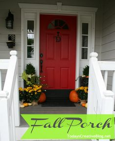 Whitlow Bills McAfee's Mums with Drop Cloth wraps- Fall Porch - Today's… Front Door Colors, Front Door Decor, Front Doors, Red Doors, House Front, Front Porch, Fall Decor, Holiday Decor, Painted Doors