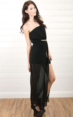 Maxi Dress With Split Thigh Maxi Dress BLACK