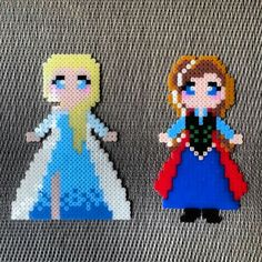 Elsa and Anna Frozen perler beads by dzsisshop