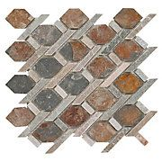 I like this as a decorative insert in the shower.  It looks like rusty metal. $8.99 Mixed Diamond Decorative Slate Mosaic