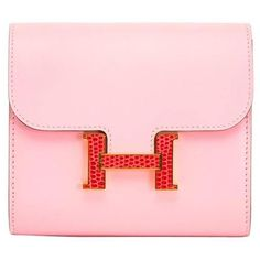Preowned Brand New Pink Hermes Constance Compact Wallet (66,205 CNY) ❤ liked on Polyvore featuring bags, wallets, pink, print bags, print wallets, hermes bag, hermes wallet and pink wallet