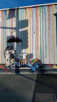 Des tigres sous une pluie de peinture