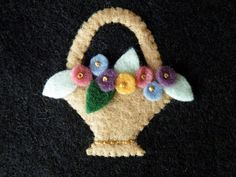 Embroidered Felt Flower Basket