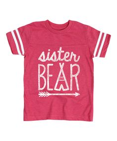 Hot Pink 'Sister Bear' Football Tee - Toddler & Girls by It's Just Me #zulily #zulilyfinds