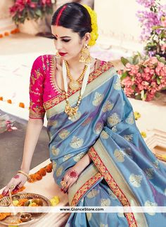 Bedazzling Zari Work Art Silk Designer Traditional Saree